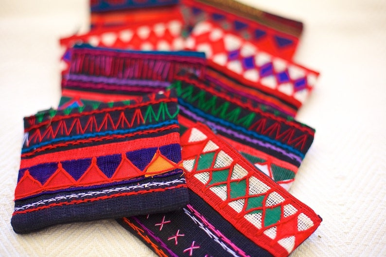 Hmong hill tribe coin purse earthy zip purse Gorgeous little Hill Tribe Zip Purse with diamond design Boho purse