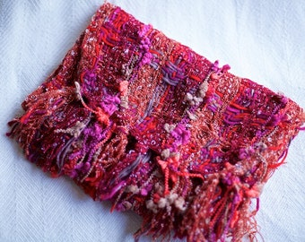 Beautiful Winter warm scarves, snuggly scarves, Winter Scarves, Beautiful textural scarves, red toned scarves