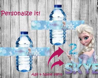 Personalized Frozen labels for water bottle - Etiquetas personalizadas de Frozen para botellas de agua