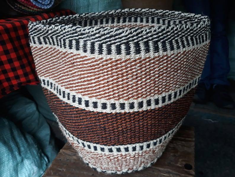 Brown African Woven Sisal Basket,Kiondo basket,Woven Storage Basket,Fruit