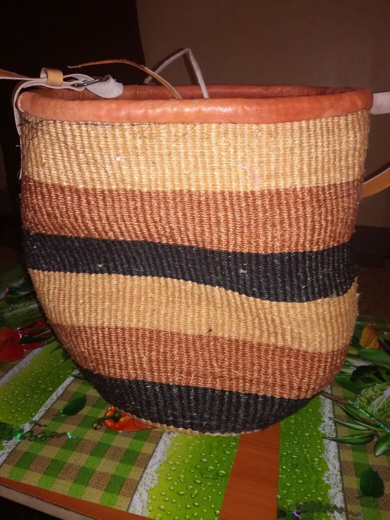 Brown African Woven Sisal Basket,Kiondo basket,Woven Storage Basket,Fruit  Basket,African Home Decor,Market basket