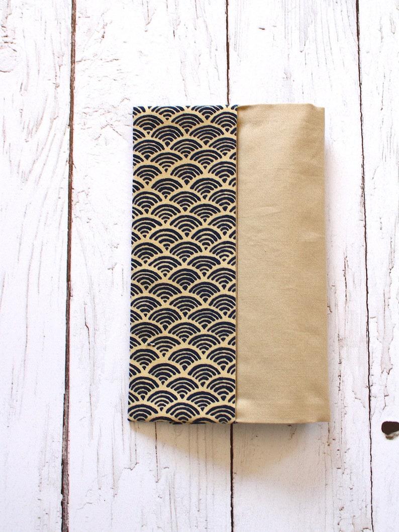 Door checkbooks in Japanese cotton seigaiha