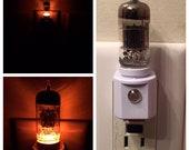 12AX7 Amber Vacuum Tube Valve LED Night Light (Steampunk TV Ham Radio Guitar Amp)