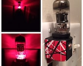 12AX7 Red Blk Steampunk Vintage Vacuum Tube LED Night Light made with EVH Van Halen 5150 Decal Valve from a Marshall Peavey Guitar Amplifi