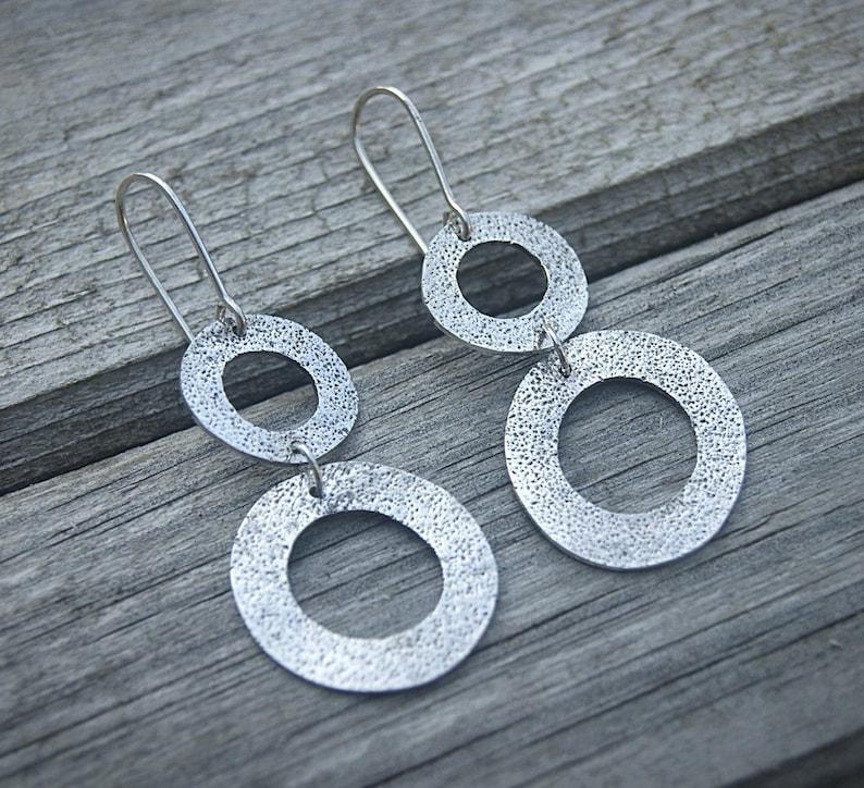 8d940b357a903 Sterling silver handmade earrings   Simple circle earrings   Long  Minimalist earrings   Geometric minimal earrings   Modern jewelry