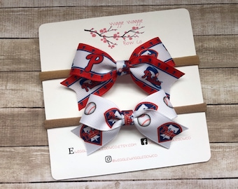 19b7813eee7c Philadelphia Phillies Baseball Headband Bows or Hair Clips. Perfect for  newborns