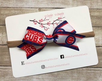 Chicago Cubs MLB Baseball Headband Bow. Gentle and Stretchy c87664c21a5