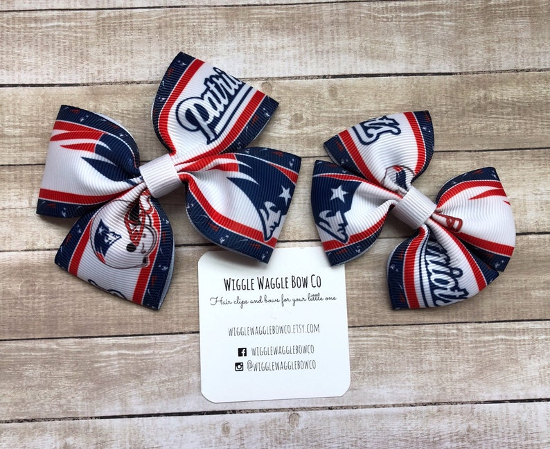 Handmade New England Patriots Inspired Football Stacked Boutique Hair Bow