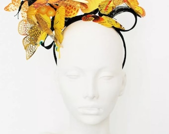 Black Yellow and gold butterfly fascinator hatinator by Ms Lyall Millinery
