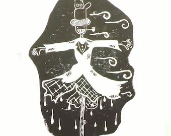 "Linocut ""Scarecrow"" / linoprint / linocut / printmaking / hand print / the moving castle"