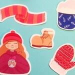 Cozy stickers set
