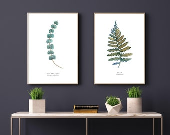 set of 2 watercolour paintings eucalyptus fern leaf botanical wall art living room art home decor - Living Room Paintings
