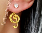 Gold Music Clef note Stud earrings- Ear jacket stud earrings-Music Note Musician jewelry gift for teens women her-steel studs