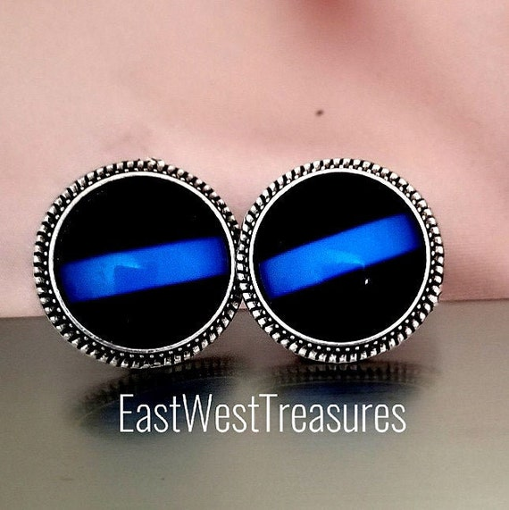 Thin Blue Line  CUFFLINKS  Police Cuff Links  Law Enforcement  Cuff Links  Police Officer gift  Gift boxed