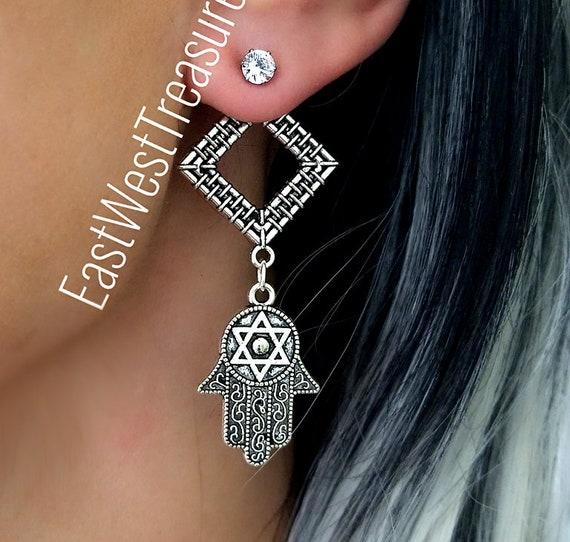 Trendy and Fashion Earrings of Star of David Cuff Drop Earrings Jewelry for Teen Girls and Women Gifts