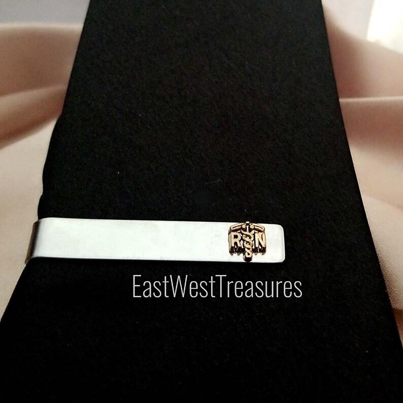 White Coat Ceremony Graduation Christmas Gift for Men All STEEL RN Nurse tie clips bar RN Nursing Nurse suit tie accessories