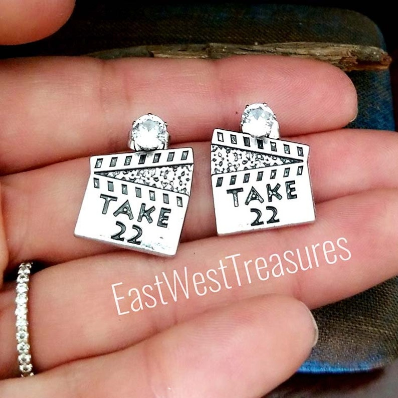 film producer  maker director jewelry gift for teens women her-gifts for a movie director Clapperboard Movie stud Earrings
