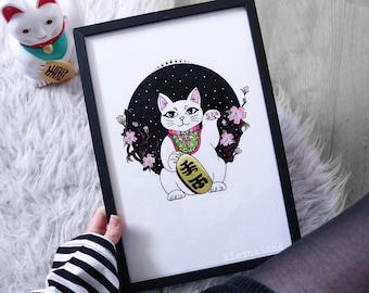 Maneki Neko Winkekatze Drawing