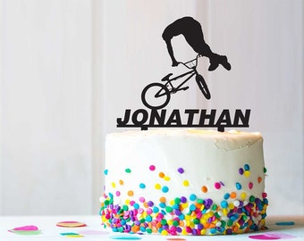 BMX Free Style Extreme Birthday Party Cake Topper RusticUnique Personalize Custom Design C0162K
