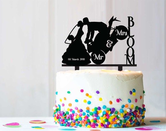 Pleasing Biker And Bride Motorcycle Wedding Party Cake Topper Rustic Etsy Funny Birthday Cards Online Alyptdamsfinfo