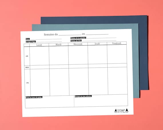 Model Of Weekly Planner Planning Programming For Summer Camp Leader Monitor