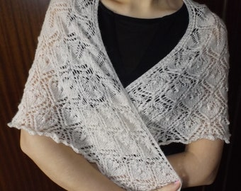 """Knitted shawl, knitted shawl """"spring fairy tale"""", scarf, white shawl, Knitted shawl mohair"""
