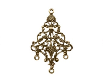 Rare Antiqued Brass Ox Chandelier Components for Earrings - French Style Filigree for Jewelry Making - 4 Pieces - European Made Brass