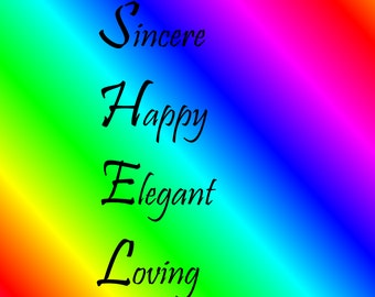 Shelby Acrostic Name Poem with rainbow background