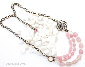 3 Strand Pink Rose Quartz, Crystal and Glass Beaded Necklace, Antique Brass Chain, Bib, Modern, Casual, Dressy - Adjustable Length!