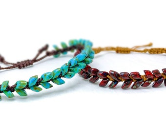 Beading Pattern - Magatama Vine Beaded DIY Macrame Bracelet
