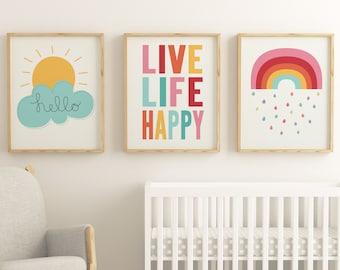 Delightful Kids Room Art Printable Set Of 3 Prints, Nursery Wall Art, Gender Neutral, Kids  Room Art, Cloud, Sunshine, Set Of Three, Scandinavian, Sale