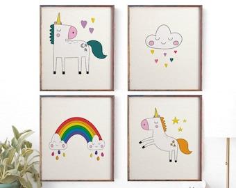 Kids Room Art, Childrenu0027s Wall Art, Set 4 Prints, Kids Unicorn Wall Art,  Girls Nursery Decor, Pastel Art, Cloud Rainbow Nursery Print, Sale
