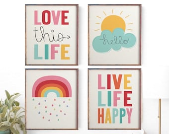 Elegant Kids Wall Art, Childrenu0027s Wall Art, Nursery Set Of 4 Prints, Weather Wall  Art, Sunshine Print, Rainbow Print, Unisex Decor, Girls, Boys Sale