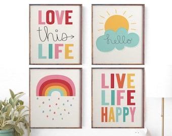 Kids Wall Art, Childrenu0027s Wall Art, Set Of 4 Prints, Weather Wall Art,  Sunshine Print, Rainbow Print, Unisex Nursery Decor, Girls Boys Sale
