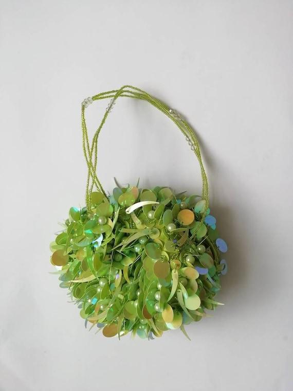 Vintage Y2K Beaded Lime Green Bag