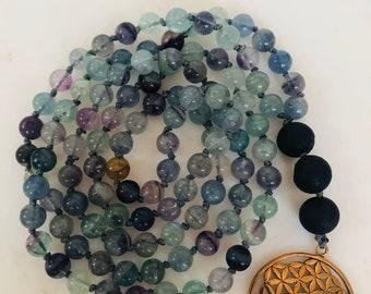 10 mm Round Natural Rainbow Fluorite Collier Nouées gemstone crystal