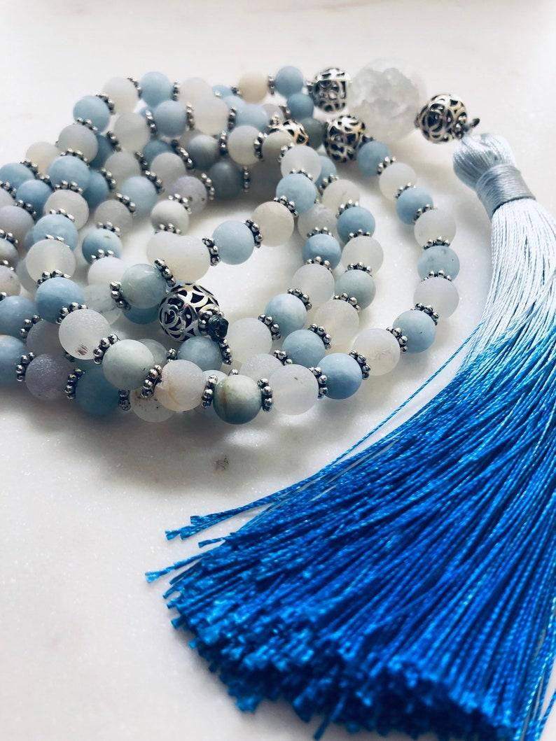 Matte Aquamarine and White Agate Mala Prayer Necklace
