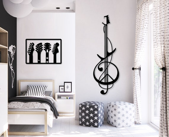 Wood guitar wall art Music theme decor Bedroom wall decor Music art Music  decor Interior decoration Office decor Bedroom living room decor
