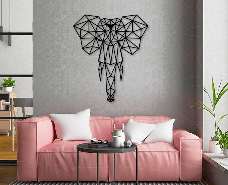 Elephant Wood wall art Geometric art Living room decor Home decor Wood  elephant Lover gift Mother gift Wall decor Modern wall decor