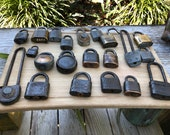 Lot of 21 Antique steel, brass, iron padlocks, rusty patina locks collection no keys used up broken locks
