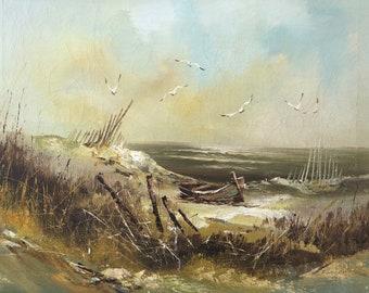 Ocean Landscape Art Original Watercolor and Pen and Ink Dunes Sea Oats