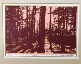 Vintage David Thomas Pina limited edition screen print serigraph artist signed, numbered and titled minimalist framed forest landscape art