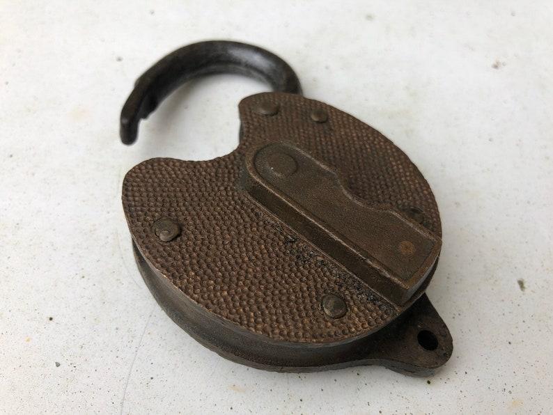 Antique brass Yale padlock brass railroad lock heart shape brass lock brass home decoration collectible