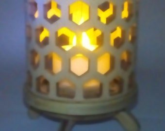 Honey Comb Curved  Basswood Tea Lamp With LED Candle