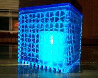 Deep Sea Blue Acrylic Cube Lamp/Box (butterfly pattern)
