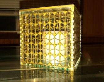 Sea Glass Acrylic Cube Lamp/Box (gold butterfly pattern)