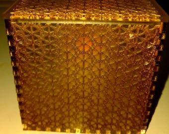 Sea Glass Acrylic Cube Lamp/Box (gold flower)
