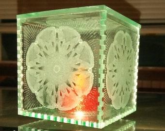 Sea Glass Acrylic Cube Lamp/Box