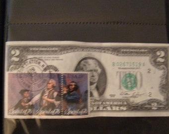 1976 First Day Of Issue Two Dollar Bill With 13 Cent Stamps