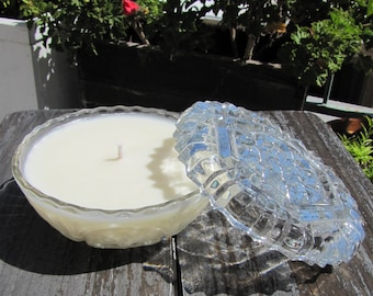 Natural Jasmine Soy Candle in Vintage Clear Glass
